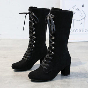 Roman Solid Lace Up Chunky Mid Calf Boots - Made For Her Label