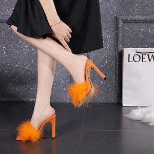 Square Toe Feather Chunky Heeled Slippers - Made For Her Label