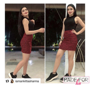 Ankita Sharma In Our Shiny Sequined Bodycon Skirt - Made For Her Label