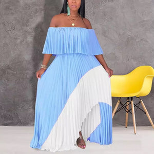 Colourful Off Shoulder Pleated Dress - Made For Her Label