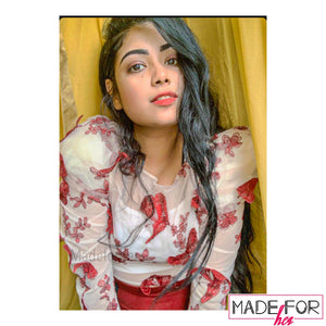 Client Mallika In Our Butterfly Embroidered Blouse - Made For Her Label