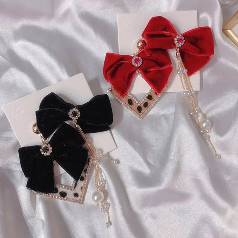 Velvet Ribbon Bowknot Earrings