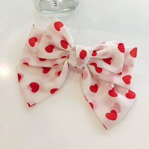 Heart Printed Bow Hairpin - Made For Her Label