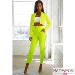 Chetna Pande In Our Neon Blazer And Pants Set - Made For Her Label