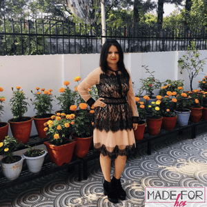 Client Vaishali In Our Liliana Lace Dress - Made For Her Label