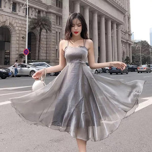 Criss Cross Back Organza Puff Dress - Made For Her Label