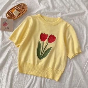 Floral Embroidered Tee - Made For Her Label