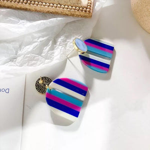 Rainbow Design Colourful Enamel Geometric Half Round Earrings - Made For Her Label
