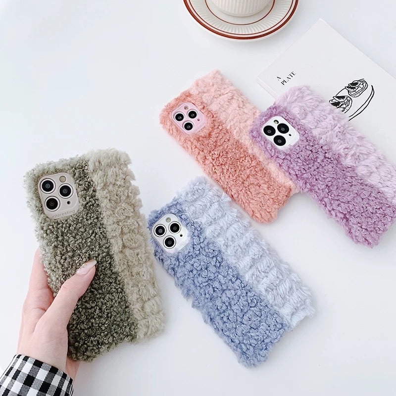 Contrasting Colour Fluffy Iphone Case