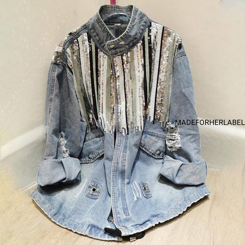 Sequin Detailing Denim Shirt
