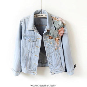 3D Embroidered Denim Jacket - Made For Her Label