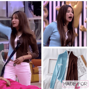 Mahira Sharma In Our Duo Color Zipper Pullover - Made For Her Label