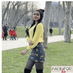 Ankita Sharma In Our Warm Furry Sweater With Embroidered Cherry Skirt Set - Made For Her Label