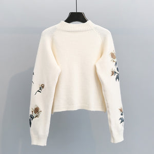 Flower Embroidered Sweater
