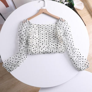 Ruched Polka Square Neck Top - Made For Her Label