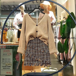Venessa knitted Top With Tweed Skirt - Made For Her Label