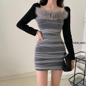 Mehak Sethi In Our Teresa Fur Mesh Bodycon Dress