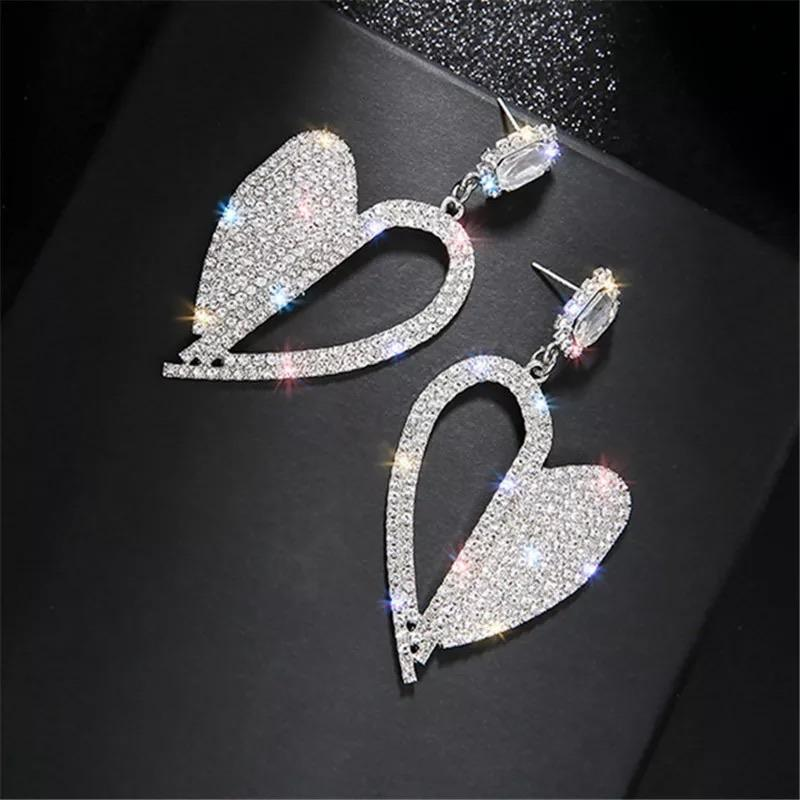 Heart Crystal Drop Earrings - Made For Her Label