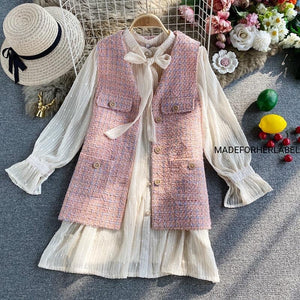Flare Sleeve Dress With Tweed Vest
