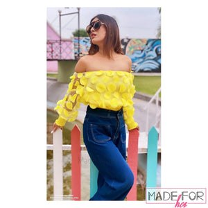 Neha Malik In Our Lantern Sleeve Mesh Ruched Blouse - Made For Her Label