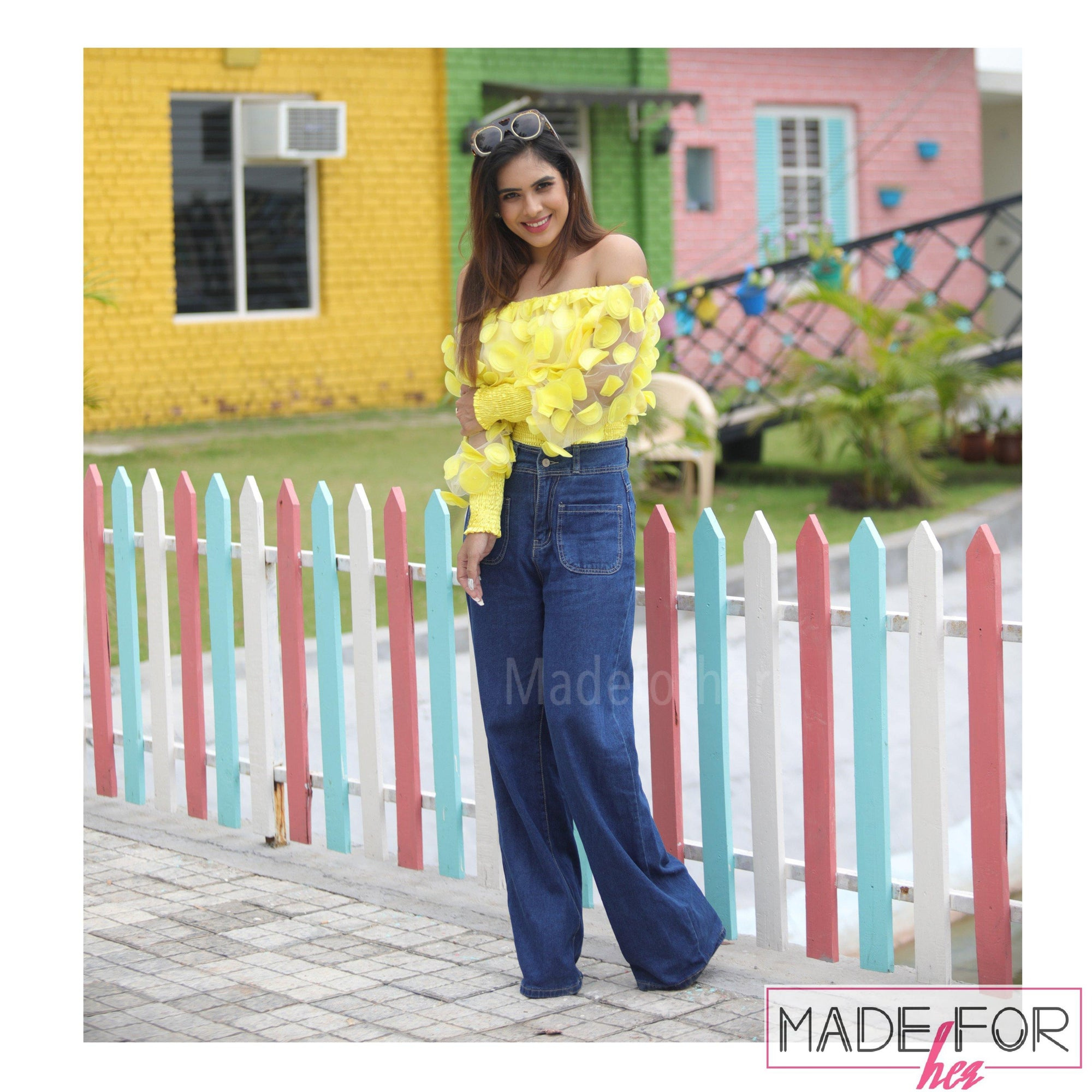 Neha Malik In Our High Waist Pocket Patch Wide Leg Pants - Made For Her Label