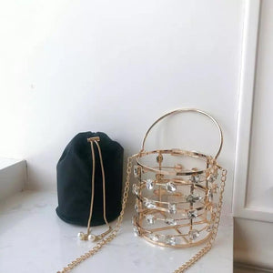 Hollow Out Crystal Bucket Bag - Made For Her Label