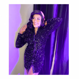 Jissa Paul In Our Collar Buttoned Sequin Dress