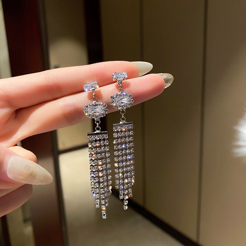 Isla Rhinestone Tassel Earrings