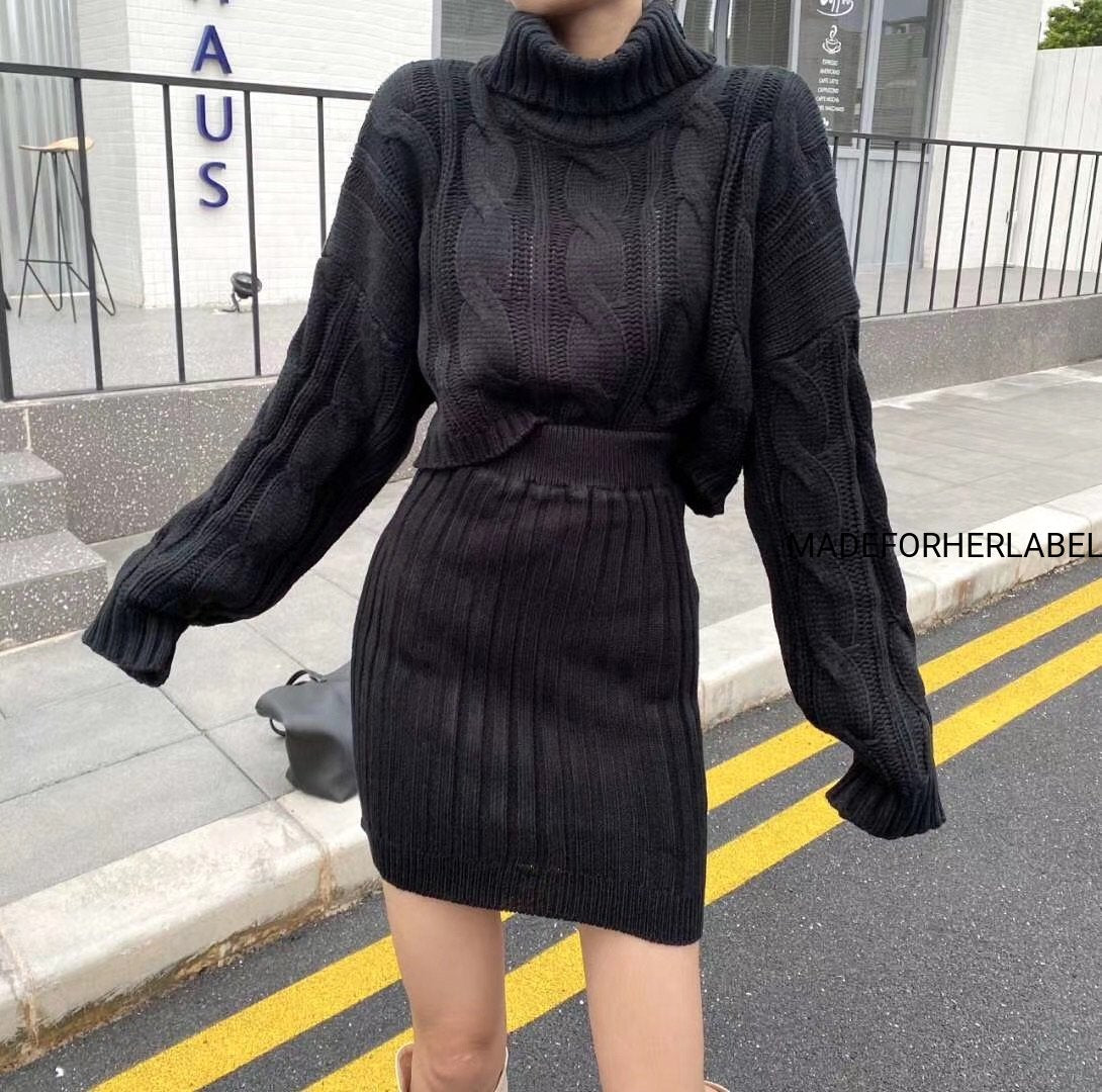 Kim Turtleneck Sweater With Bodycon Skirt Set