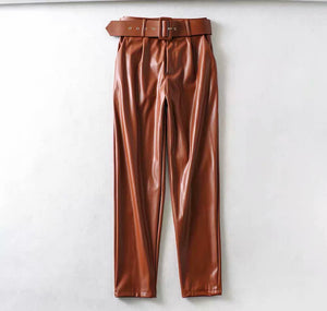 Leather Belted Pants