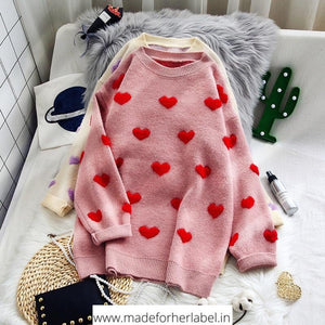 Heart Oversized Sweater - Made For Her Label