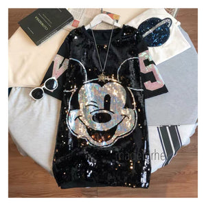 Mickey Sequin Oversized T-shirt Dress - Made For Her Label