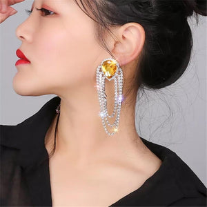 Water Drop Crystal Tassel Earrings - Made For Her Label