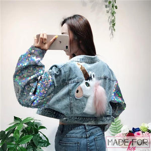 Client Muskan In Our Unicorn Denim Jacket - Made For Her Label