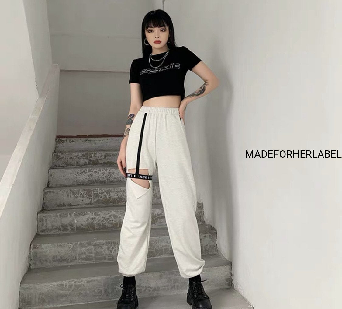 Hollow Thigh Ring Design Trouser