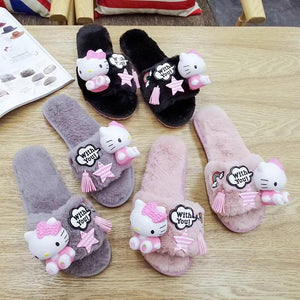 Kitty Plush Slippers - Made For Her Label