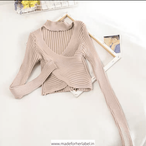 Criss Cross Knitted Sweater - Made For Her Label