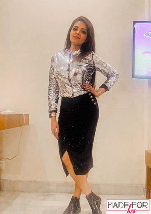 Sugandha Mishra In Our All Sequin Top - Made For Her Label
