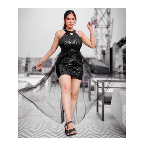 Meet Dhawan In Our Sanem Sequin Mesh Dress