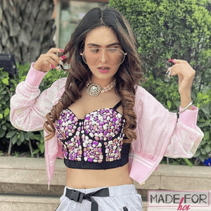 Neha Malik In Our Sequined Cropped Jacket - Made For Her Label