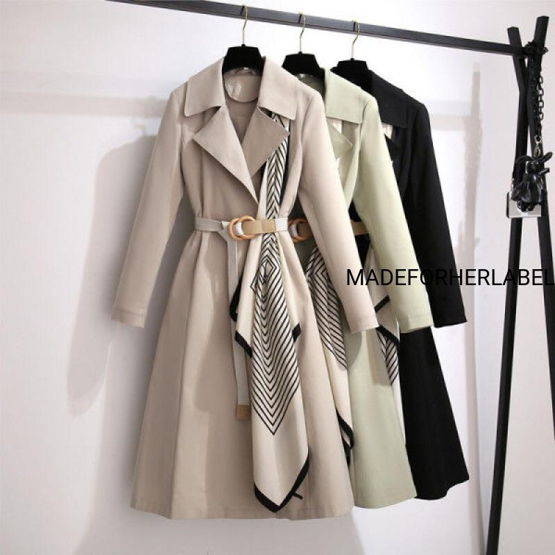 Scarf Patchwork Trench Coat - Made For Her Label
