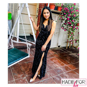 Original Picture Of Our Velvet Glittery Slit Maxi Dress - Made For Her Label