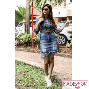Aparna Dixit In Our Blue Floral Long Top With Denim Skirt Set - Made For Her Label