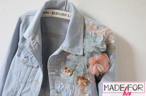 Aakriti Rana In Our 3D Embroidered Denim Jacket - Made For Her Label
