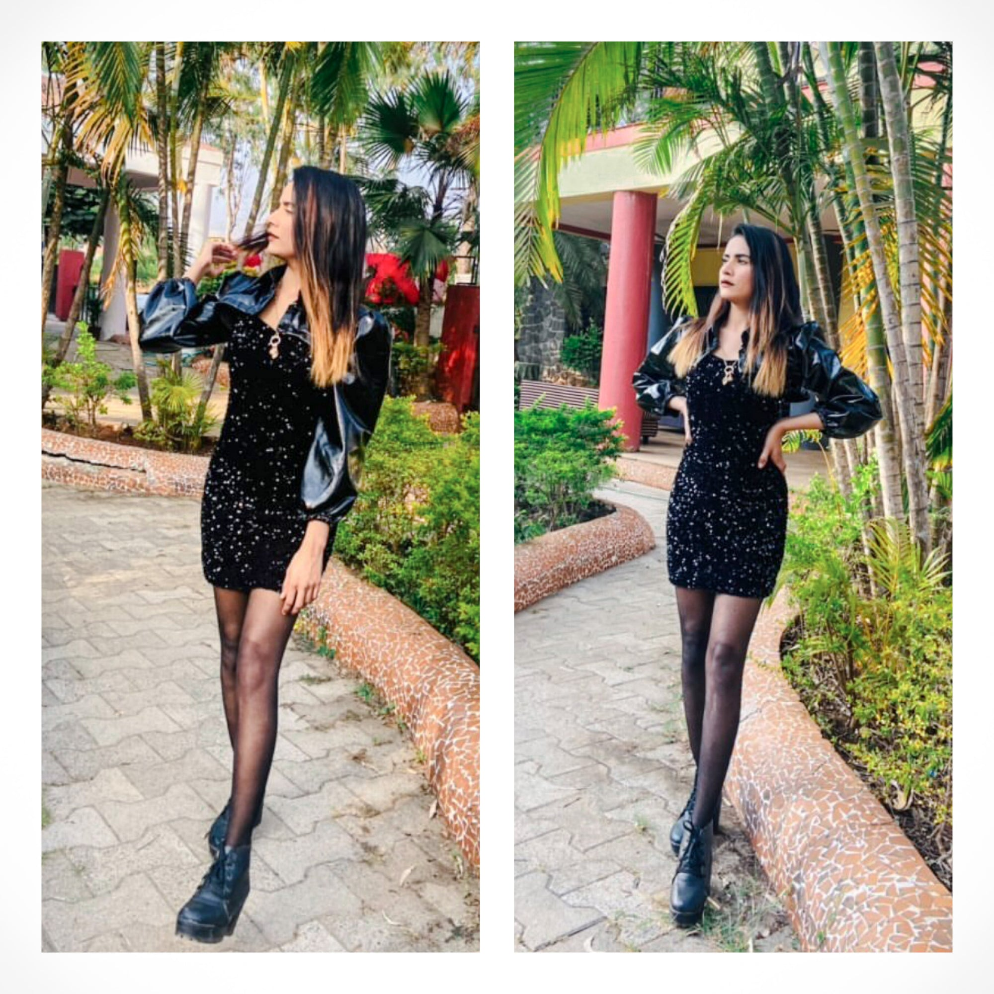 Client Nazmeen In Our Alaina Sequin Dress With Cropped Leather Jacket
