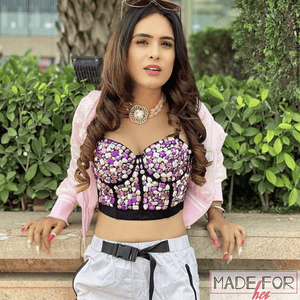 Neha Malik In Our Polly Rhinestone Bustier - Made For Her Label