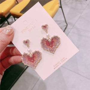 Colourful Rhinestone Heart Earrings