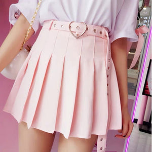 Heart Shape Buckle High Waisted Mini Pleated Skirt - Made For Her Label