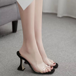 Goblet Heel Clear PVC Square Toe Slip On Heels - Made For Her Label