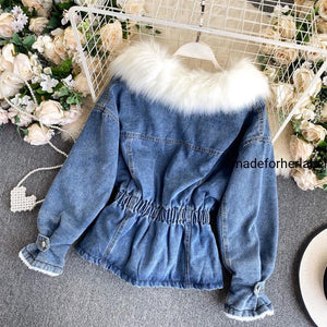 Detachable Fur Denim Jacket - Made For Her Label